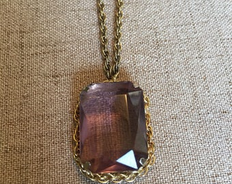 Light Purple Pendant Necklace, Rectangle and Gold Toned Chain
