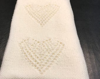 Handmade White Baby Blanket with Hearts