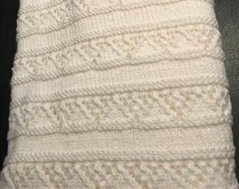 Handmade baby blanket white fringe