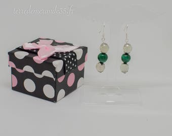 Malachite earrings / Moonstone bead 8 mm
