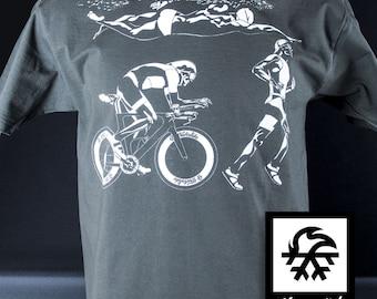 T-Shirt Triathlon Ironman race running swimming illustration by Waveslide