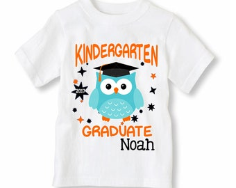 NEW Kindergarten Grad Shirt - Graduation Owl Shirt Personalized With Name and Year