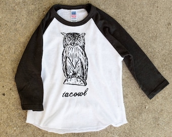 Taco Owl Screen Print Toddler / Kids Baseball Tri-blend T-shirt