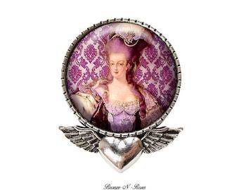 PIN pin Marie-Antoinette retro bronze glass cabochon pink