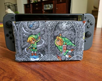 Nintendo Switch Dock Sock Full Cover Protector - The Legend of Zelda: Wind Waker, Link Gray Stained Glass