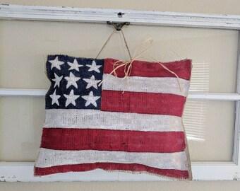 American Flag Burlap Door Hanger