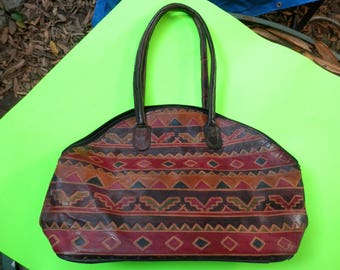Vintage MEDITERRANEAN TRADING CO. Hand Painted Tote