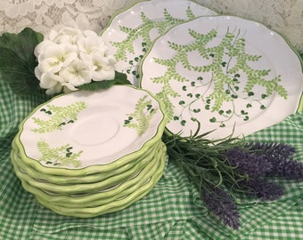 Italian White and Lime Green Ceramic Saucers and Salad Plates - Lot of 10