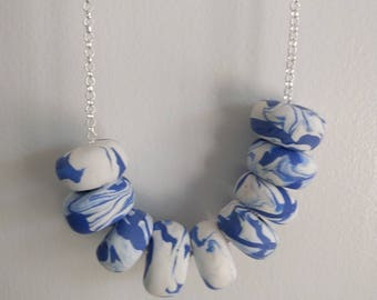 Polymer Clay bead necklace jewellery -'Molten Blue'