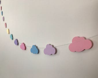 Cloud Paper Bunting In Unicorn Rainbow