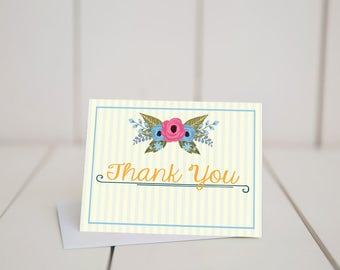 Floral and Stripes Thank You- 5.5x4-Bridal Shower-Baby Shower-Wedding-Digital-Printable