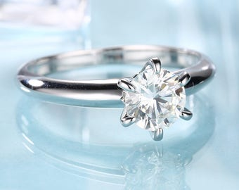 Solitaire engagement ring Simple Moissanite Forever Brilliant diamond wedding ring white gold dainty women promise gift for her bridal set
