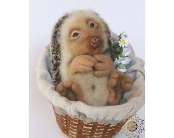 Needle felted Hedgehog in the basket