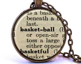 Basketball Dictionary Pendant Necklace