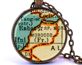 Morocco Map Pendant Necklace - Created from a 1937 map. Map Jewelry, Map Necklace, Map Pendant, Custom Jewelry, Personalized Jewelry