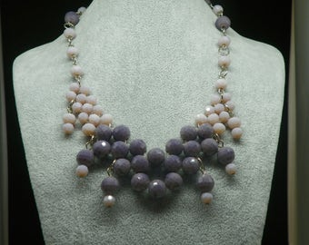 Purple and lilac/statement necklace with crystals embroidery opalescent