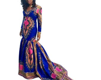 Dashiki dress, dashiki maxi dress, dashiki gown, dashiki prom dress