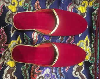 Nepalese soft red slippers