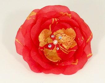 Timeless Flower by Helen, TimelessFlower, Timeless Flower, FiberStoneBridal, FiberStone Bridal, Red Flower, Handmade Flower