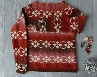 Jacquard sweater hand-knit Faroe Islands