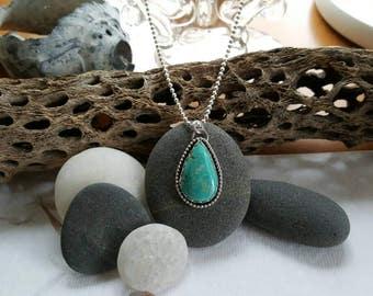 Turquoise, sterling, teardrop pendant.
