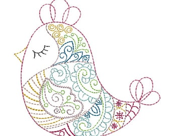 Whimsical Finch - Machine Embroidery Design