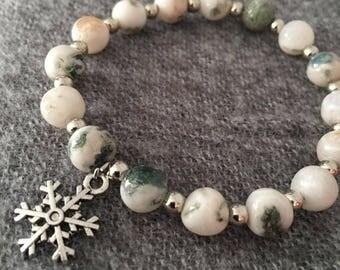 8mm Natural Moss Agate Beaded Bracelets