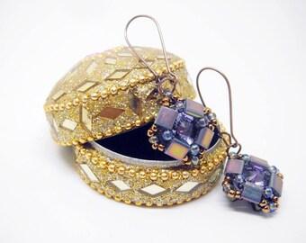 """Earrings """"Purple simplicity"""" - short earrings - crystals earrings - geometrical earrings - green earrings - gift for her - dangle earrings"""
