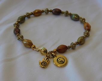 Earth Tone Czech Glass Ying Yang Hand Charm Bracelet