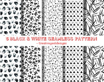 Black and white doodle flower seamless patterns | sketchy floral scrapbook paper | Instant DOwnload