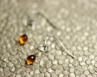 Orange citrine and sterling silver earrings