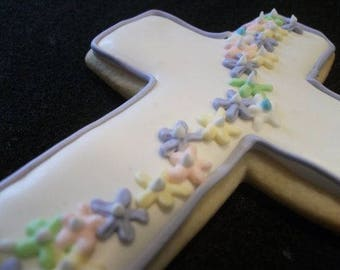 Cascading flowers cross cookies-Communion- Baptism -Christening