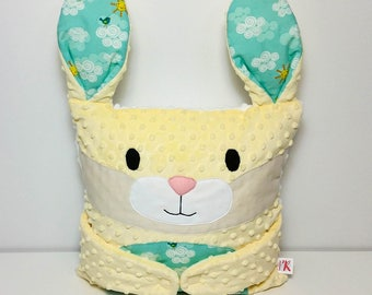 READY TO SHIP - Hug-Me Pillow, Cushion - Yellow Rabbit, Mint