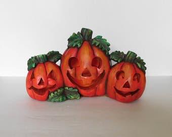 Pumpkins, Jack o' Lantern, Plaster, Halloween, Hand Painted, Collectors Item, Lighted Pumpkins, California Creations, Ceramic