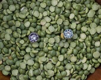 Bullet Stud Earrings, Silver with Crystal