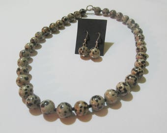 Leopard Jasper Necklace and Earrings Set