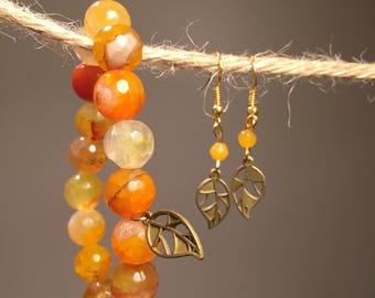 Leaf , Unique style, mother's day, gift for her , Summer style, Orange Bracelets