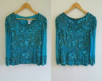 Vintage 1980s Haevaly Beaded and Sequin Turquoise Blouse