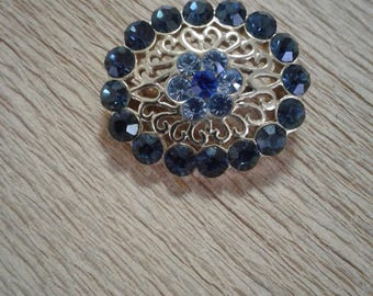 Gold plated Blue Stone/Glass Costume Brooch