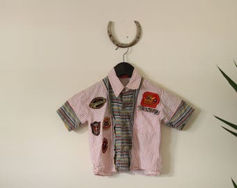90s Vintage Patch Work Baby Boy's Button Up