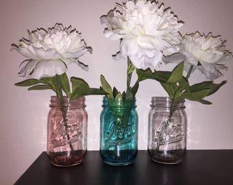 Colored Mason Jars, Stained Mason Jars, Tinted Mason Jars, Kerr Mason Jars, Mason Jar Centerpieces, Rustic Decor, Vases, Mason Jar Decor