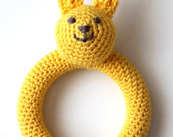 Bunny baby teether, crochet wooden teething toy, ring teether, baby rattle