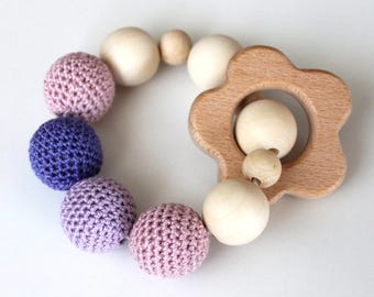 Flower crochet baby teether wooden teething toy