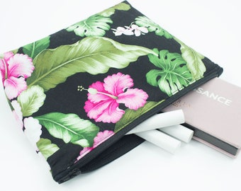 Floral Makeup Bag // Cosmetic Bag // Toiletry Bag // Hawaiian // Pouch // Gift