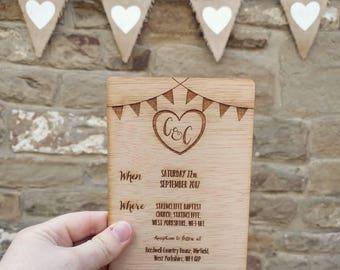 Personalised Wooden Wedding Invitations