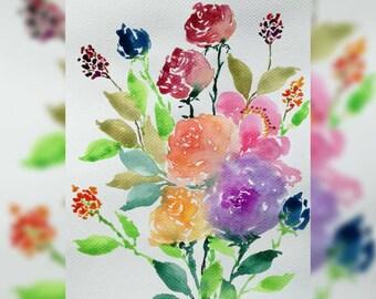 Original Watercolor Art Print, Whimsical Blooms Series, Bloom D, 9x6