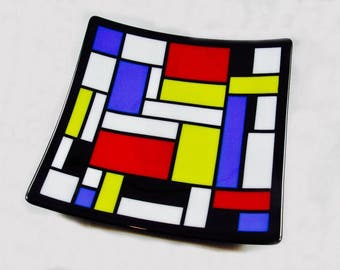 Mondrian Styled Fused Glass Plate