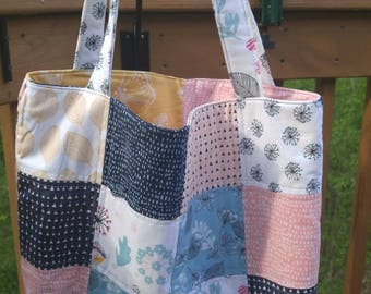 Quilted Tote Bag // Fabric is Whisper by Windam Fabrics,  Blues & Pinks, Butterflies, Book bag or Carry-on bag, Diaper bag