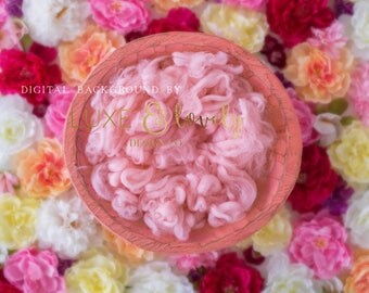 Newborn Photography Digital Background, Bowl Prop, Floral Background
