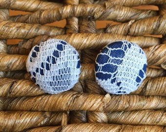 Fabric and Lace Button Earrings / Navy